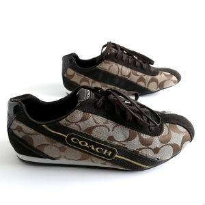 Coach Hilary Logo Sneakers, Tan Brown Gold 7.5